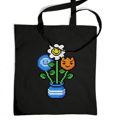 8-Bit Bouquet tote bag