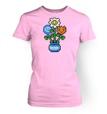 8-Bit Bouquet womens t-shirt
