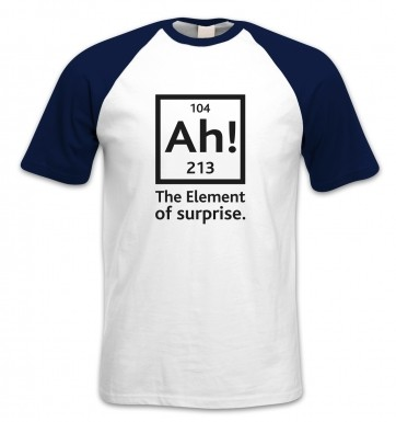 Ah! The Element Of Surprise (black detail) short-sleeved baseball t-shirt