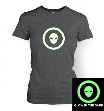 Alien Head In Circle (glow in the dark) women's t-shirt