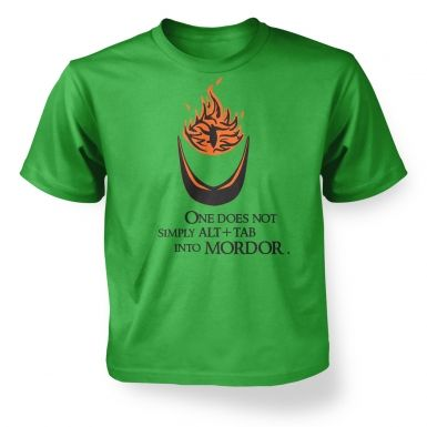 Alt+tab into Mordor  kids t-shirt
