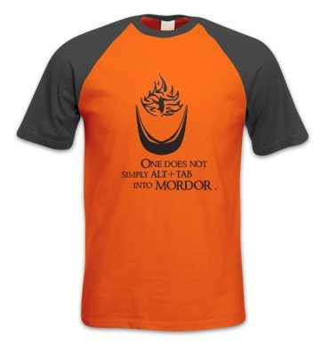 Alt+tab Into Mordor short-sleeved baseball t-shirt