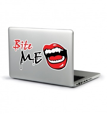 Bite Me laptop sticker