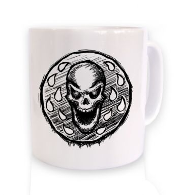 Skull Coin ceramic coffee mug