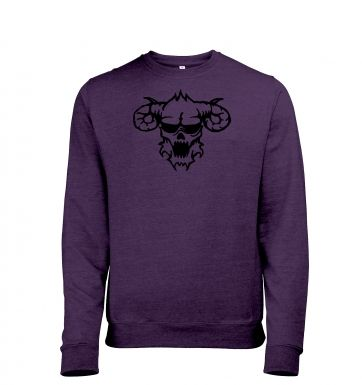 Black Outline Demons Head heather sweatshirt