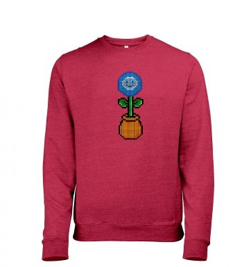 Blue Flower 8-bit men's heather sweatshirt