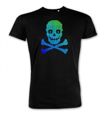 Blue and Green Pixellated Skull premium t-shirt