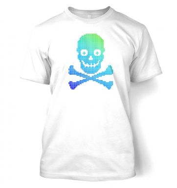 Blue and Green Pixellated Skull t-shirt