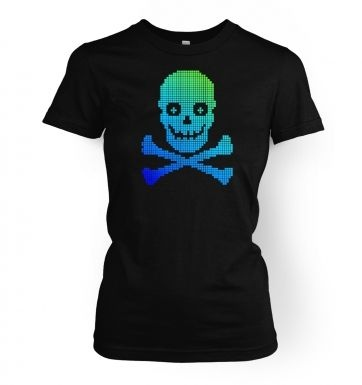 Blue/Green Pixellated Skull women's t-shirt
