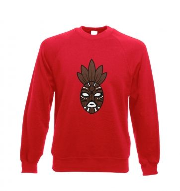 Brown Tribal Mask adult crewneck sweatshirt