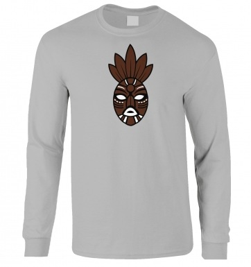 Brown Tribal Mask long-sleeved t-shirt