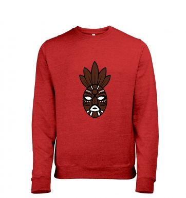 Brown Tribal Mask Mens Heather Sweatshirt