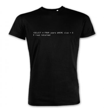 Clueless Users SQL Query premium t-shirt