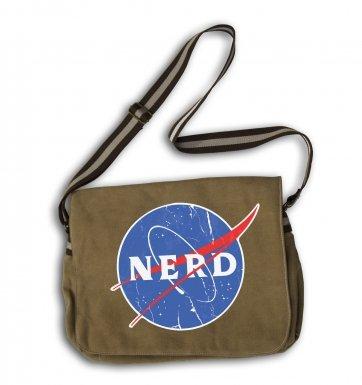 Distressed NASA NERD messenger bag