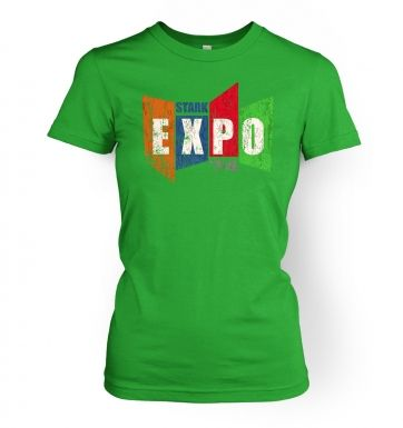 Distressed Stark Expo women's fitted t-shirt