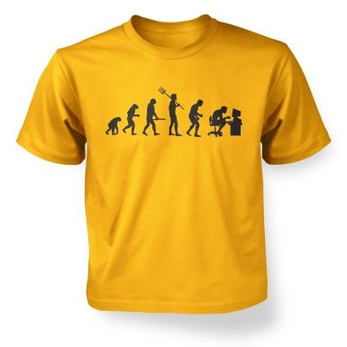 Evolution of a geeky man (black detail) kid's t-shirt