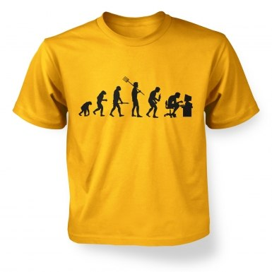 Evolution of a geeky man (black detail)  kids t-shirt