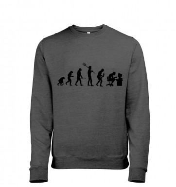 Evolution of a geeky man (black detail) heather sweatshirt