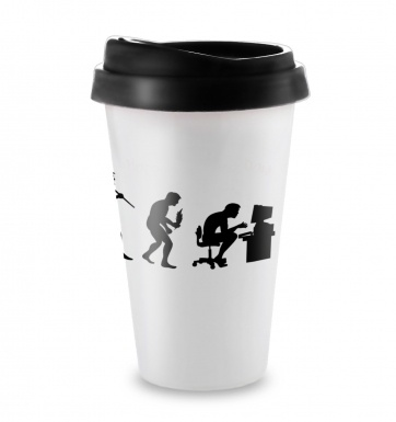 Evolution Of A Geeky Man travel latte mug