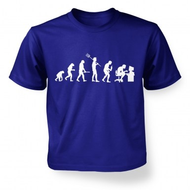 Evolution of a geeky man (white detail)  kids t-shirt