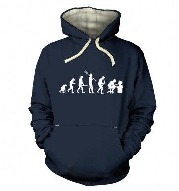 Evolution of a geeky man (white detail)  hoodie (premium)