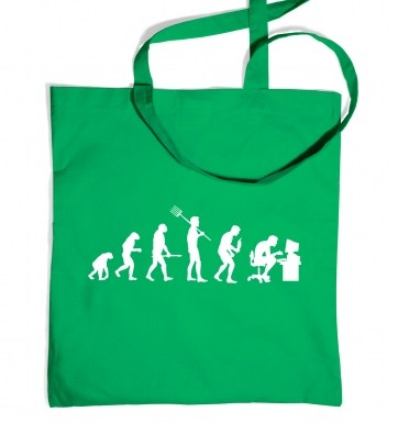 evolutionofageekymanwhitedetailtotebag