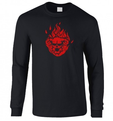 Flaming Demon's Head long-sleeved t-shirt