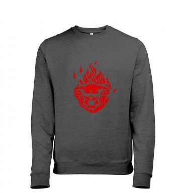 Flaming Demon's Head men's heather sweatshirt