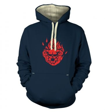 Flaming Demon's Head premium hoody