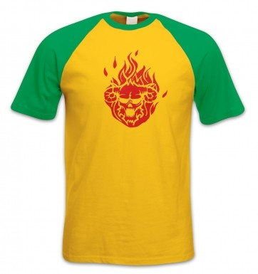 Flaming Demon's Head short-sleeved baseball t-shirt