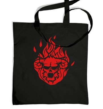 Flaming Demon's Head tote bag