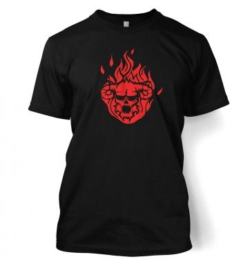 Flaming Demon's Head men's t-shirt