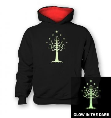 Glowing Tree of Gondor   kids hoodie (contrast)