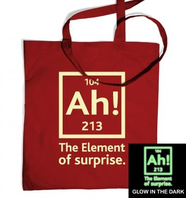 Ah! The Element of Surprise (glow in the dark) tote bag