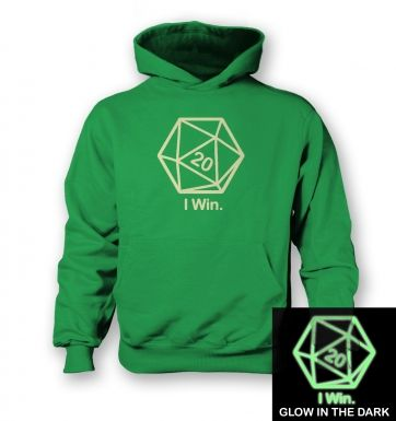 D20 I Win (glow in the dark) kids' hoodie