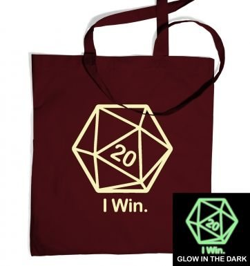 D20 I Win (glow in the dark) tote bag