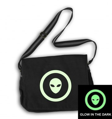 Glow In The Dark Grey Alien Head In Circle messenger bag