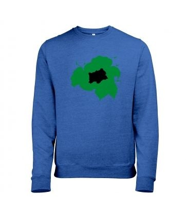 Green Bulbasaur Silhouette Mens Heather Sweatshirt   - Inspired by Pokemon