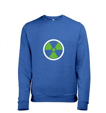 Green Radiation Symbol Mens Heather Sweatshirt   Inspired by The Hulk and The Avengers