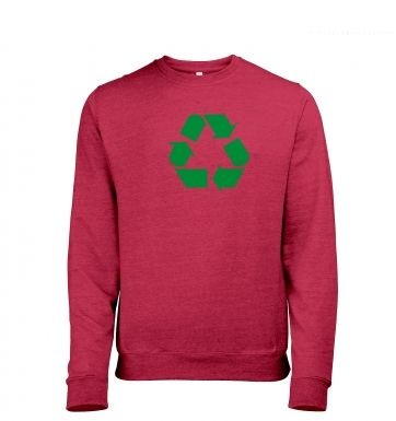 Green Recycling Symbol Mens Heather Sweatshirt
