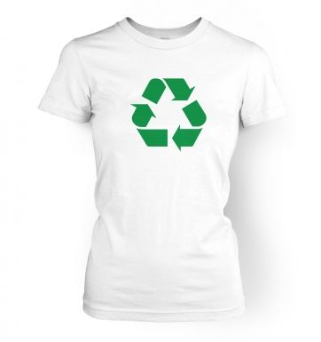 Green Recycling Symbol  womens t-shirt