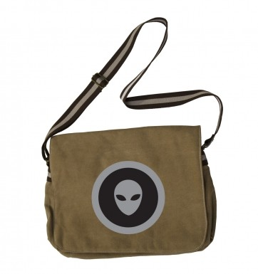 Grey Alien Head Black Fill messenger bag