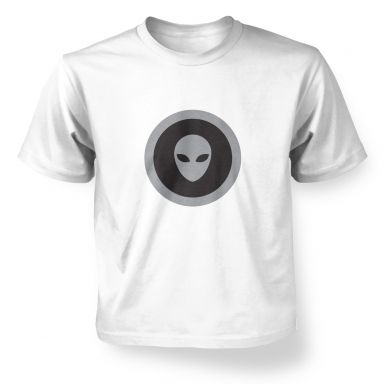 Grey Alien Head Circle Black Fill kids' t-shirt