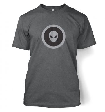 Grey Alien Head Circle Black Fill t-shirt
