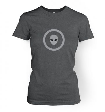 Grey Alien Head Circle women's t-shirt