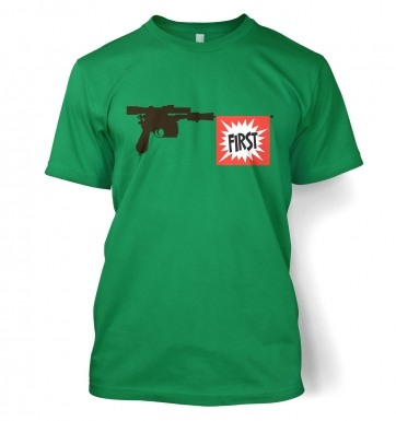 Han Shot First Blaster t-shirt