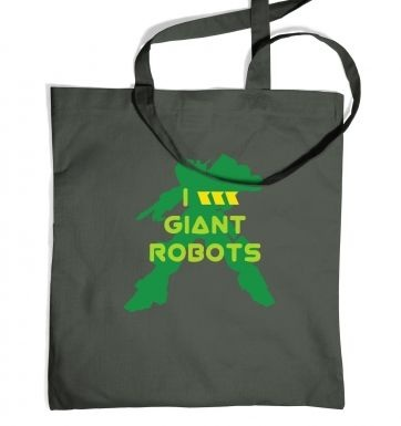 I Love Giant Robots tote bag