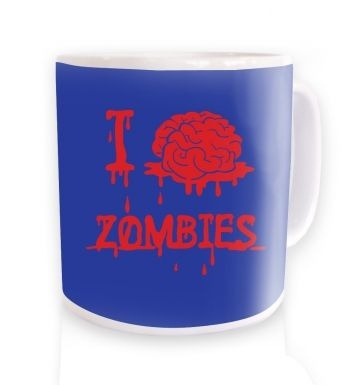 I brain zombies blue mug