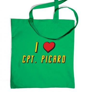 I heart Captain Picard tote bag