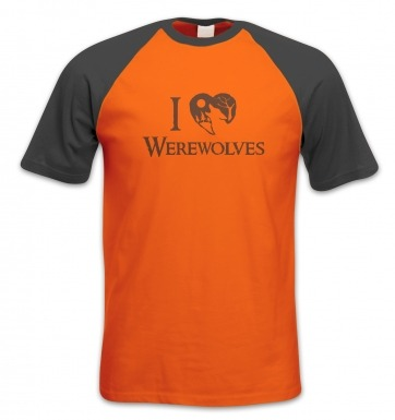 I Heart Werewolves short-sleeved baseball t-shirt